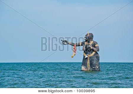sculpture in sea