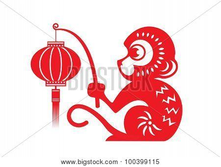 Red paper cut monkey zodiac symbol (monkey holding lantern)