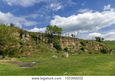 Sedimentary rock and meadow