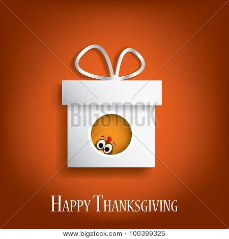 Thanksgiving card vector design with traditional turkey in gift box