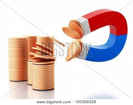 3D Horseshoe Magnet Attracting Golden Coins.