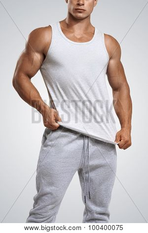 Close Up Photo Of Attractive Man Wearing Blank Gray T-shirt