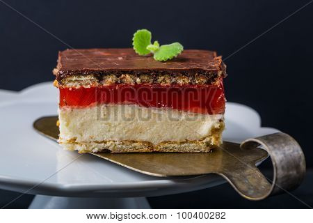 Semolina Cake With Jelly And Biscuits