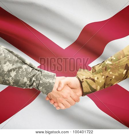Military Handshake And Us State Flag - Alabama