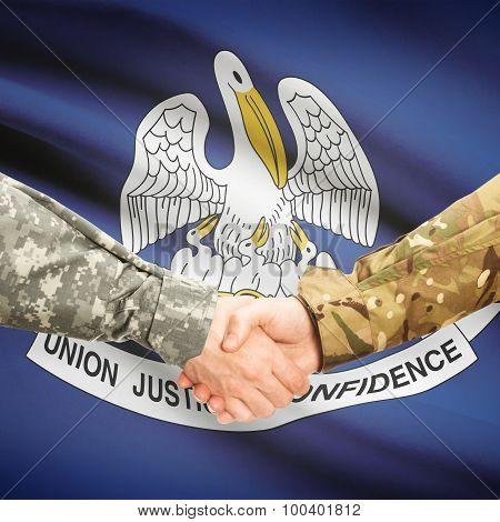Military Handshake And Us State Flag - Louisiana