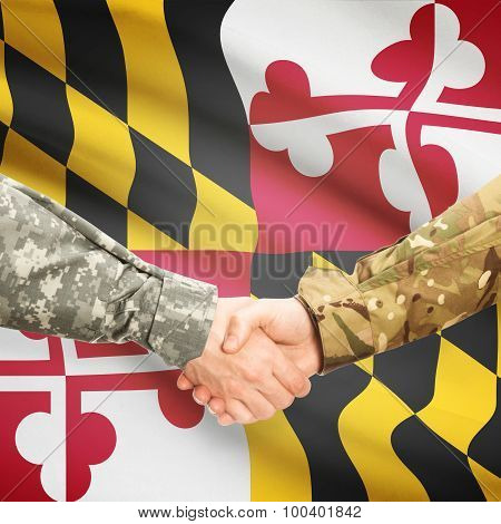 Military Handshake And Us State Flag - Maryland