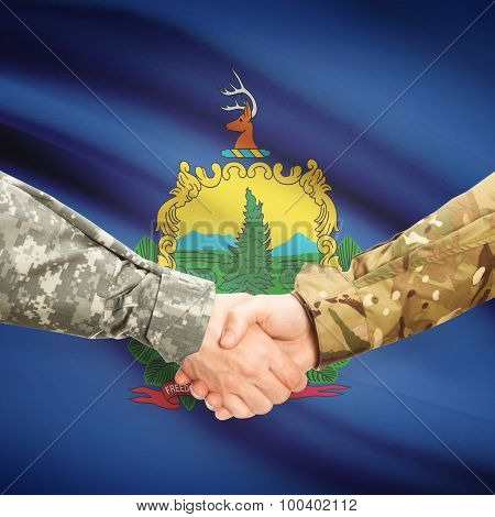 Military Handshake And Us State Flag - Vermont