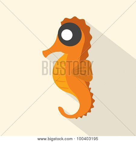 Modern Flat Design Seahorse Icon.