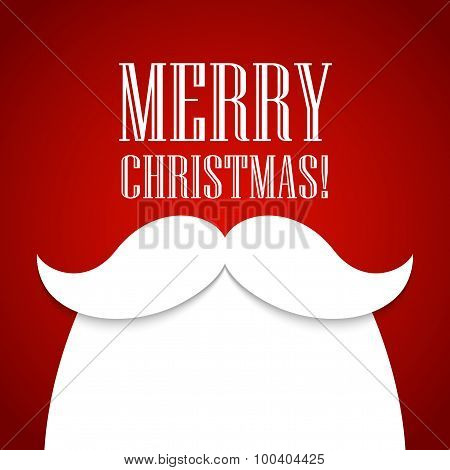 Christmas card with a beard and mustache Santa Claus. Vector illustration