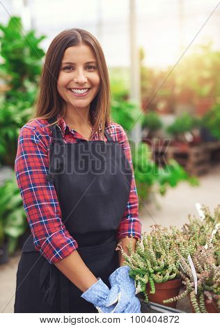 Smiling Young Employee In A Flower Nursery