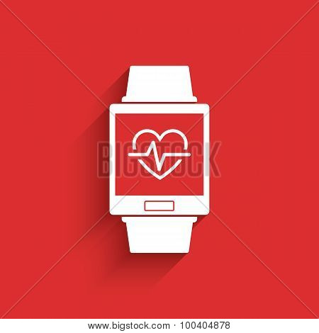 Smartwatch wearable technology symbol with icon for fitness tracker heart beat monitor application.
