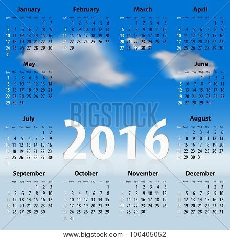 English Calendar For 2016 Year With Clouds