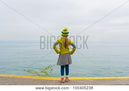 Cute little girl standing next to beautiful lake on a cold day, back view