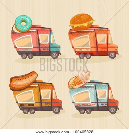 Street food van in retro style. Fast food delivery
