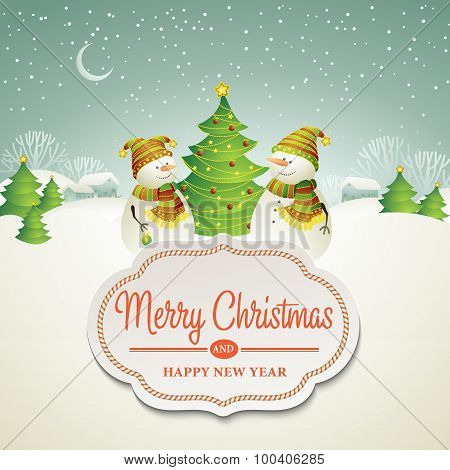 Christmas vector illustration with snowman