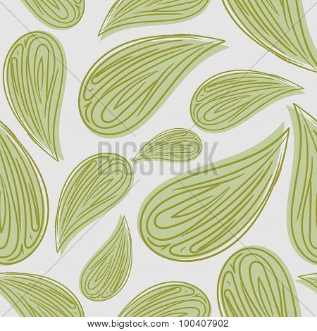 Abstract Seamless Pattern Green Leaves. Vector Background Of Foliage. Retro Fabric Ornament For Leaf