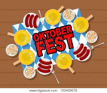 Oktoberfest: Beer And Sausages. Pretzels And Grilled Sausages On Wood Table. Vector Illustration For