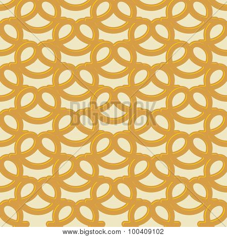 Beer Snack Seamless Background. Vector Pattern Pretzel.  National Holiday Germanys Oktoberfest Beer