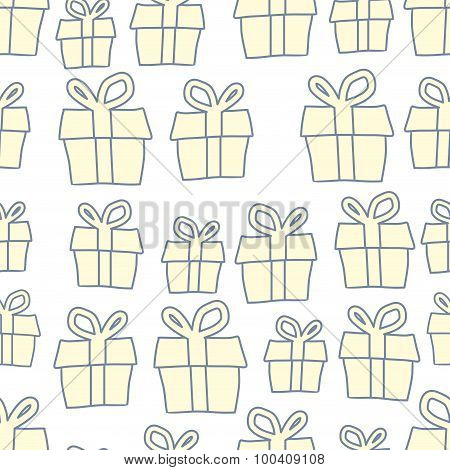 Holiday Background Of Gifts. Vector Present Seamless Pattern