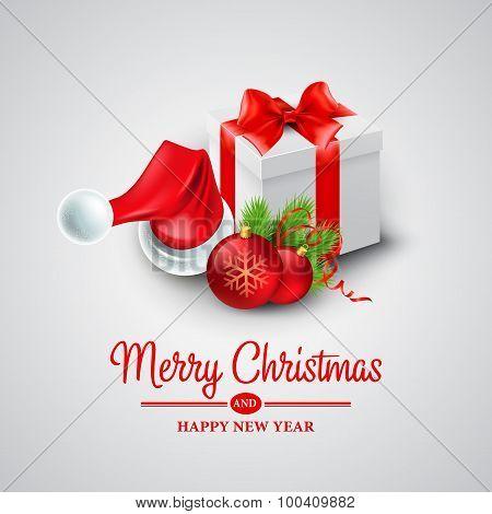 Christmas gift box and Santa hat. Vector illustration