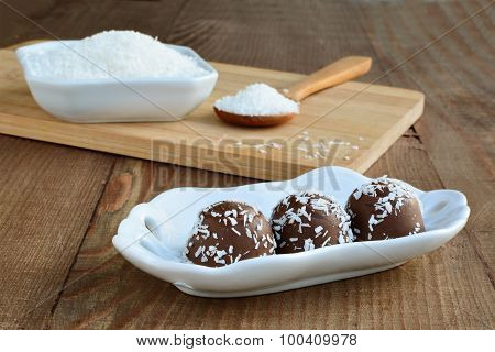 Chocolate Candy With Coconut Topping