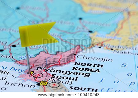 Pyongyang pinned on a map of Asia