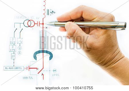 drawing electric Scheme white background hand
