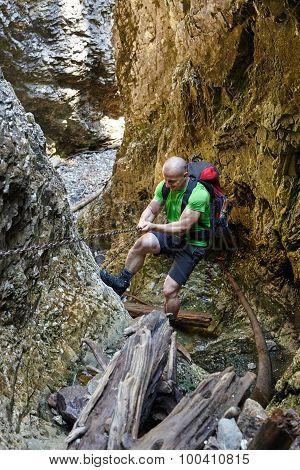 Hiker Climbing In A Canyon