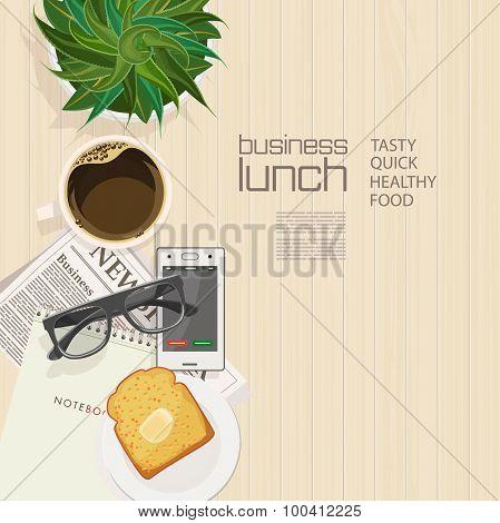 Business lunch. Coffee break.