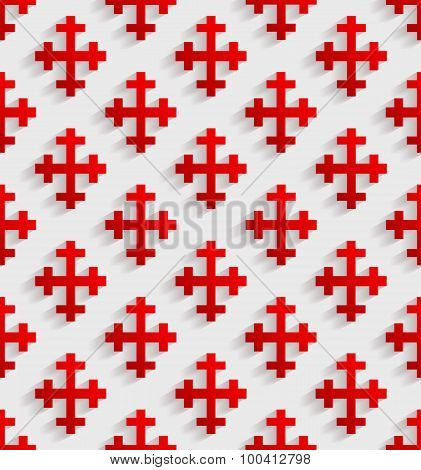 White Seamless Pattern With Red Crosses.