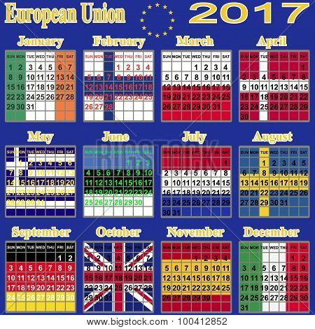European  calendar  of  2017.