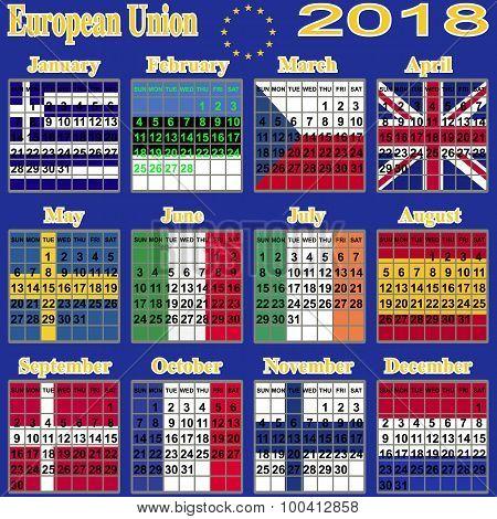 European calendar  2018.