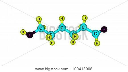 Ethambutol molecule isolated on white