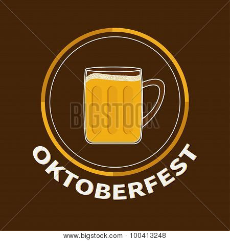 Oktoberfest Beer Glass Mug With Foam Cap Froth Bubble. Big Round Icon Flat Design