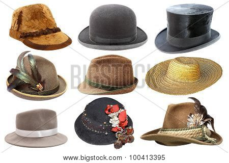 Collage With Different Hats Over White