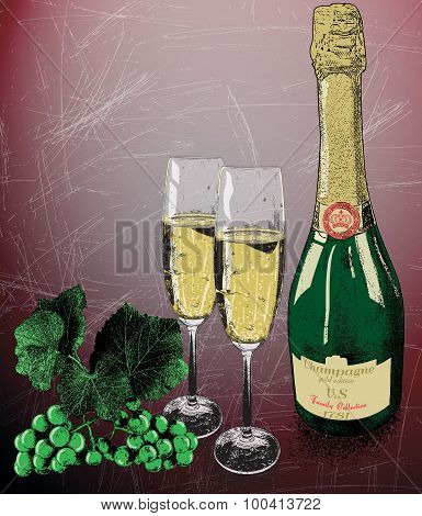 Two glasses of champagne and bottle of wine and vine grapes