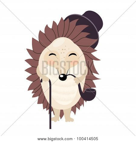 Vector cartoon gentleman hedgehog isolated on the white background