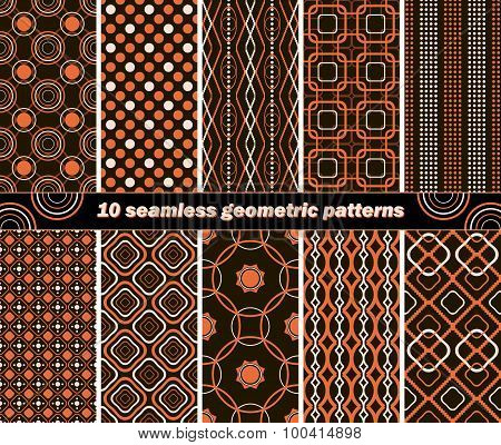 10 Seamless Abstract Geometric Contrasting Patterns