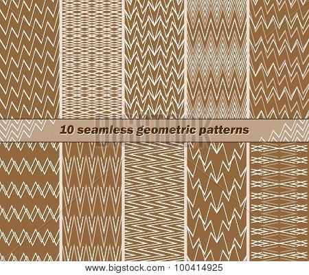 10 Seamless Abstract Geometric Patterns In Brown And White Colors