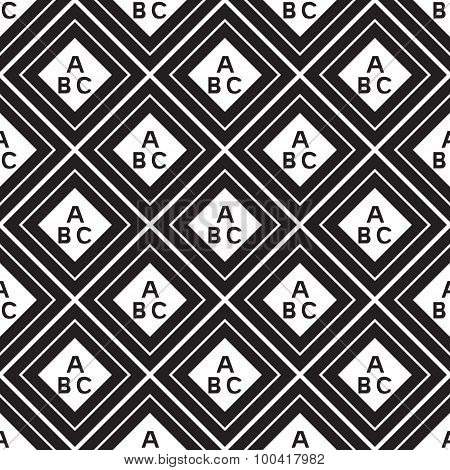 Seamless Pattern Of Letters Inside Squares