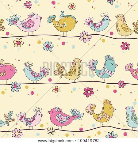 Cute Birds Seamless Background