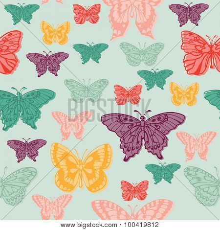 Colorful background with butterflies - for scrapbooking or design