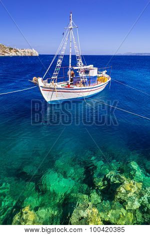 Fishing boats at the coast of Zakynthos, Greece