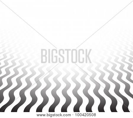 Perspective black and white background. Wavy surface. Vector illustration.