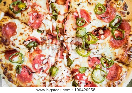delicious spicy pizza with pepperonu and tomatos in portions