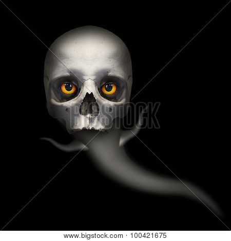 Hungry ghost with evil eyes looking to you from deep grave. Picture on Halloweens theme.