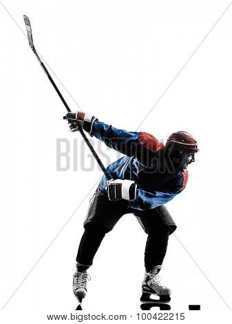 one caucasian man ice hockey player  in studio  silhouette isolated on white background