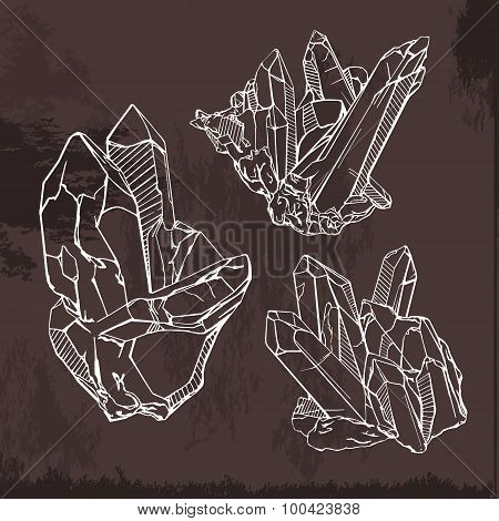Hand drawing crystals set. Crystal gems sketch illustration