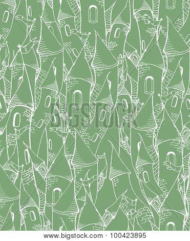 Green cartoon towers seamless pattern