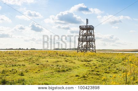 Wooden Observation Tower In A Large Nature Reserve